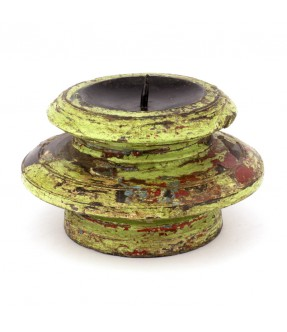 Wooden candle stand green