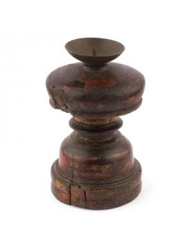 Bougeoir en bois ancien laqué