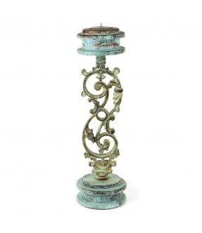 Wooden and iron candle stand