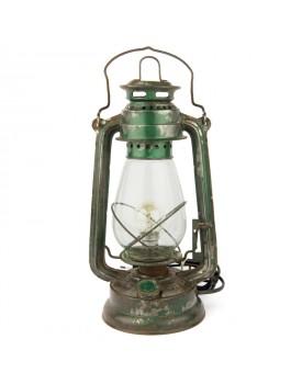 Lampe pétrole électrifiée verte