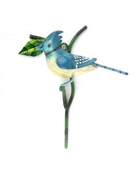 Crochet oiseau métal bleu