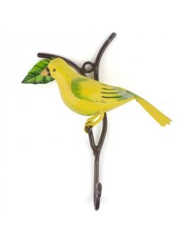 Crochet oiseau métal jaune