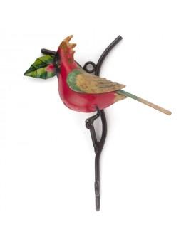 Crochet oiseau métal rouge