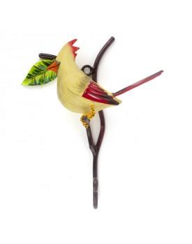 Crochet oiseau métal banc