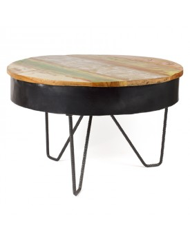 table basse ronde en teck recycl rickshaw. Black Bedroom Furniture Sets. Home Design Ideas