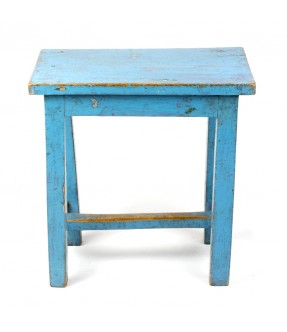 Wooden blue stool