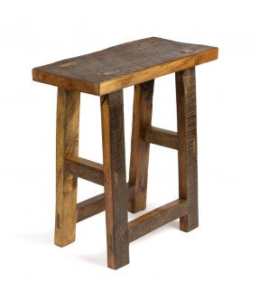 Tabouret rectangle en bois et teck