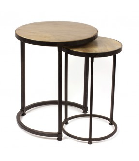 Sofa side table - set of 2 - iron and mango wood