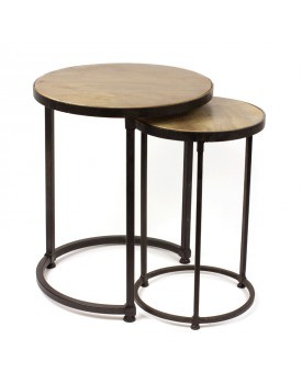 Sofa Side Table Set Of 2 Iron And Mango Wood Rickshaw
