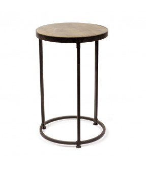 Sofa side table - small size - iron and mango wood