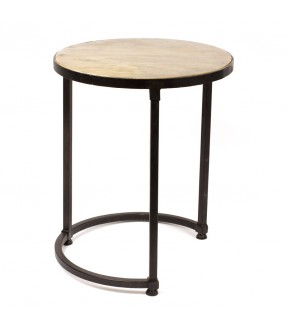 Sofa side table - big size - iron and mango wood