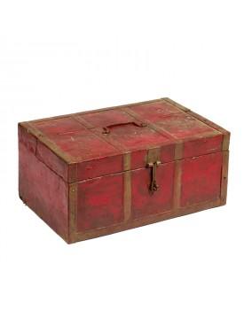 Coffre ancien rouge en teck