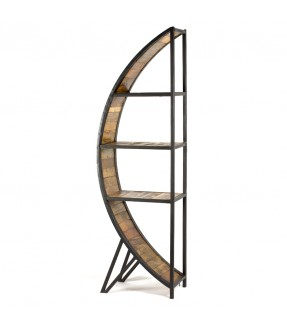 Half round shelf - iron and wood