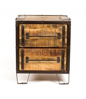 Bed side 2 drawers - iron wood