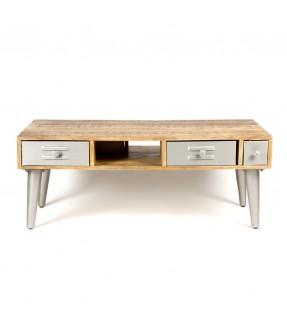 Table bois et métal - 4 tiroirs-vue1