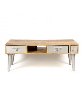 Table bois et métal - 4 tiroirs